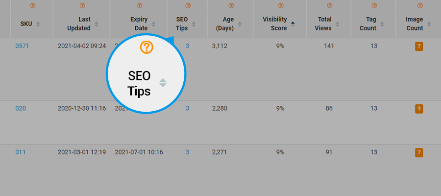 Screenshot of author's eRank report, highlighting where to find SEO tips