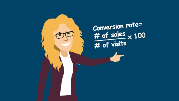 Author showing the formula for calculating Etsy conversion rate