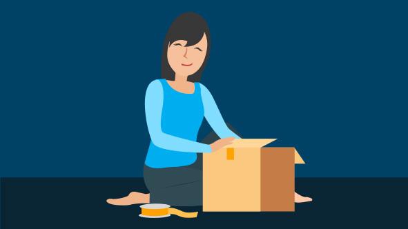 Cartoon of eRank Etsy Seller packing a shipping box